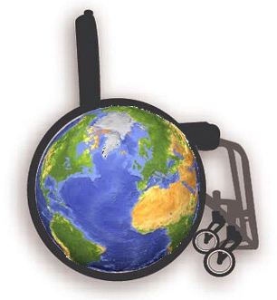 Image of Earth superimposed on a wheelchair wheel